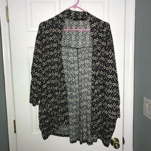 Black and off white kimono